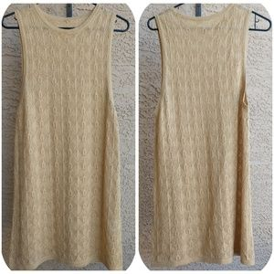 Free People Crochet Gold Shimmer Sweater Tank M-L